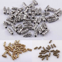 50pcs Tibetan Silver Column Tube Spacer Beads Jewelry Making Findings 8x3mm