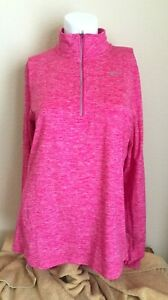 NIKE RUNNING DRI-FIT ELEMENT 1/4 ZIP PULLOVER - PINK  - SIZE MEDIUM - 904900-616