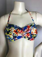 La Blanca Womens Multi-Color Floral Halter Bikini Top Tie Back Size 6