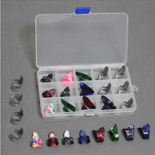 15 PCs Stainless Steel Celluloid Thumb Finger Guitar Picks With Case