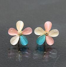 Fashion Women Silver Plated Flower Crystal Opal Ear Stud Earrings Jewelry