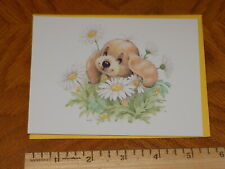 """Unused Vintage Note Card Ruth Morehead """"Puppy in Daisy Patch"""""""