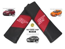 "2x Seat Belt Covers Pads Red & Black Leather ""ST"" Edition Embroidery For Ford"