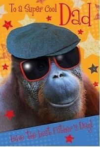 Funny Sunglasses Monkey Fathers Day Card – Super Cool Dad Nigel Quiney Artwork