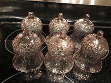 "6 Vintage Homco Interior Glass Candle Votives Cups 3.3/4"" lavender Rare"
