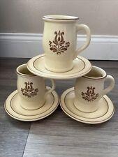 Pfaltzgraff Village 7-288 Coffee Mugs Saucers Set Of 3 USA