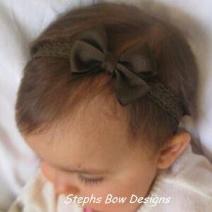 Brown Dainty Hair Bow headband fits Preemie Newborn Toddler for Fall So Cute On