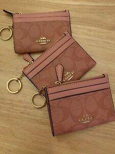 NWT COACH Mini Skinny ID Case Card Coin Key Wallet candy pink 88208