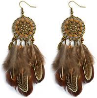 Earrings Big Dream Catcher Feather Silver Hippie Boho  Gypsy A1041