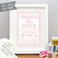 Nursery picture with children\u2019s name as personalized gift for birth and baptism in DIN A4 for girls and boys
