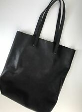 Baggu Black Soft Leather Original Classic Tote New with Tags $220