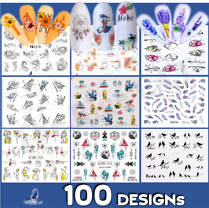 Nail Art Stickers -Water Decals Flowers Lace Tribal  Jewels Feathers Abstract 🤡