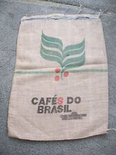 Burlap Coffee Bean Bag Sack Cafes Do Brasil Brazil Jute Gunny Sack Crafts