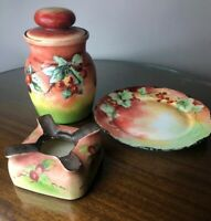 Antique Bavarian Porcelain Tobacco Jar Ashtray and Plate Hand Painted Set