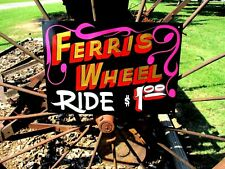 Vintage Metal Carnival FERRIS WHEEL RIDE Sign Circus Amusement Park Midway FAIR