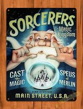 "TIN SIGN Walt Disney ""Sorcerers Of The Magic Kingdom"" Ride Art Poster"
