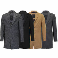 Mens Wool Mix Jacket Threadbare Long Trench Coat Collared Button Lined Winter