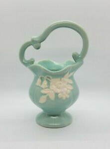Vintage Weller Pottery Blue/Green Basket Flower Pot W/ White Cameo Bouquet