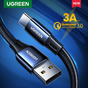 Ugreen USB Type C Cable Nylon USB-C to USB Fast Charge Data Cord Fr Samsung S20
