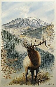 Aceo Art Trading Card Miniature Painting Antler Picture Mountain Watercolor