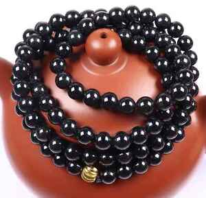 Certified Black 墨翠 Natural A Jade Jadeite 7 mm Bead Necklace 700 mm long 18825项链