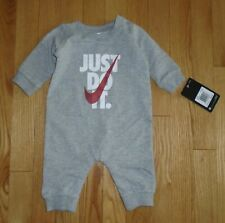 Nike Baby Boys Romper Gray Coverall Infant Newborn 3M NWT JUST DO IT