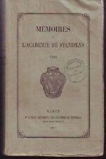LORRAINE  MEMOIRE DE L ACADEMIE DE STANISLAS  1866