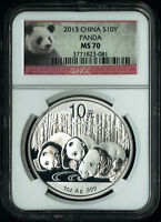 2013 China Silver Panda 1 oz S10Y Coin Bullion NGC MS 70 Perfect Red Panda Label