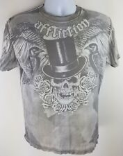 Affliction Men's Small Shirt Distressed Skull Top Hat Roses Crows Wings Pattern