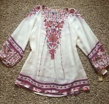 Figueroa and Flower Paisley Boho Peasant Women's Top Shirt Blouse Size L NWT!