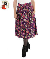 Hell Bunny Berry Crush Rock Button Midi Winter Beeren lila