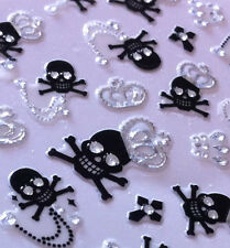 Nail Art 3D Sticker Silver Crystal Crown on Black Skulls 38 pcs RARE Halloween