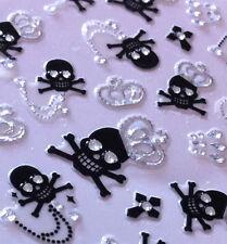 Nail Art 3D Sticker Silver Crystal Crown on Black Skulls 38 pcs RARE Halloween