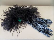 Dents Grey Crushed Velvet Evening / Burlesque Gloves with Ostrich Feathers BNWT