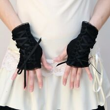 Short Corset Gloves Black Lace Up Wedding Arm Warmers Sleeves Renaissance 1202