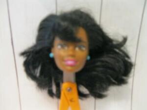 *HEAD ONLY* Black AA Christie Asha Nikkie BARBIE DOLL body part w/blue earrings
