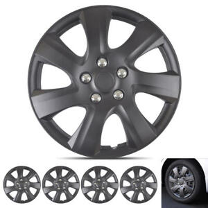 Matte Black 16' Snap-On Hubcaps for Toyota Camry 06-14  Wheel Cover Replacement