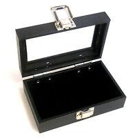 1 Small Black Pad Black Glass Top Lid Box Display Medals Pins Case
