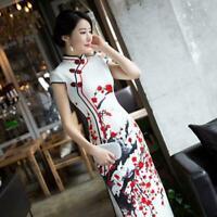 Women Printing Plum Blossom Cheongsam Bodycon Qipao Chinese Dress Long Evening