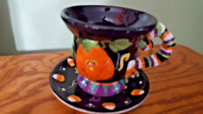 Hallowen Cup and Saucer New by Spooky Hollow IOB Pumpkin