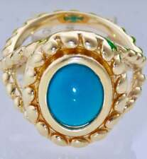 14K YELLOW GOLD VICTORIAN STYLE TURQUOISE CABOCHON BEADED DESIGN SOLITAIRTE RING