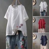 ZANZEA UK Womens Short Sleeve O Neck Embroidery Tops Ladies Casual Shirts Blouse