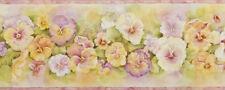 Pretty Pastel Pansies Wallpaper Border