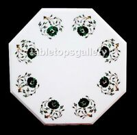 "14"" White Marble Side Coffee Table Top Malachite Floral Inlay Hallway Decor W405"