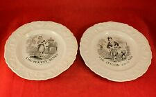 "Pr Antique Staffordshire 6¾"" Black Transferware Child's Plates Pearlware England"