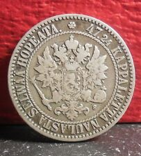 Very Nice 1865 S Silver Finland 2 Markkaa Coin KM# 7.1 Low Mintage only 203,000