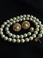 """VTG 14K GOLD 8MM Gray CULTURED PEARL 17.5"""" SINGLE STRAND NECKLACE & EARRINGS"""