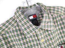 Tommy Hilfiger Boy's Sz XL Short Sleeve Green Plaid Button-Front Shirt