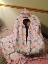 Fleece Infant Car Seat Cover, Blanket & Hat~ NEW Pink Bears