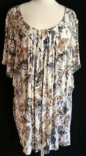 Croft & Barrow Size 2X Knit Shirt Cream with Brown & Gray Flowers Easy Fit